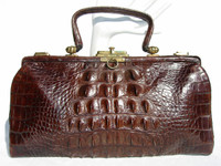 ESPRESSO Brown Early 1900's Edwardian HORNBACK Alligator Handbag