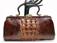 Lovely 1930's-40's Victorian Style Brown Hornback Alligator Skin Purse