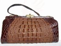 Unusual 1920's-30's Long Brown EDWARDIAN Hornback Alligator Bag