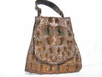 WILD & RUGGED 1940's Petite HORNBACK Alligator Skin Bag