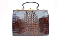Large Brown Victorian 1920's-30's Chocolate Alligator Skin Purse