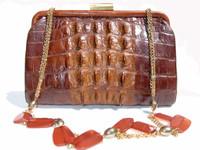 1930's-40's Edwardian Style Hornback Alligator Shoulder Bag