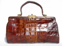 Lovely Edwardian Antique 1904 ALLIGATOR Tail Skin Purse