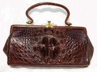 Fabulous 1920's-30's Victorian Alligator Bag w/Brass Hardware