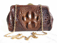 Early 1900's Edwardian Hornback ALLIGATOR Evening Shoulder Bag