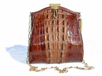 Early 1900's Petite EDWARDIAN Hornback ALLIGATOR Shoulder Bag