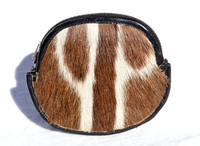 Large 1960's GENUINE ZEBRA HIDE FUR Zippered Change Purse