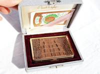 Unused 1940's-50's HORNBACK Crocodile Skin Compact in Case - Japan!