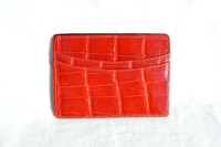 New! Cherry RED ALLIGATOR Belly Skin CARD I.D. CASE Wallet