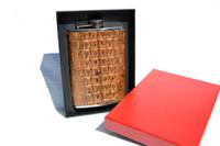 Custom Light Cognac/Tan HORNBACK Alligator Skin 8 Oz. Stainless Hip FLASK w/Box - NEW!