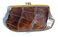 1940's-50's Chocolate Brown Alligator Skin Change Purse G1A-236