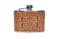Custom Light Brown HORNBACK Crocodile Skin 4 Oz. Stainless WHISKEY Flask - NEW!