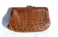 1940's-50's Chocolate Brown Alligator Skin Change Purse G1A-234