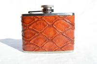 Custom Cognac ANTEATER Skin 4 Oz. Stainless WHISKEY Flask - NEW!