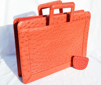 X-LARGE RED 1980's-90's Genuine OSTRICH Skin Briefcase Clutch PORTFOLIO