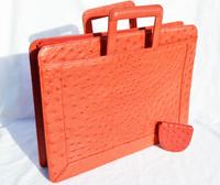 X-LARGE RED 1980's-90's Genuine OSTRICH Skin Briefcase Clutch PORTFOLIO