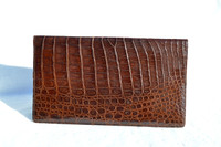 Unisex 1980's-90's Long Brown ALLIGATOR Belly Skin Jacket Purse Checkbook Wallet