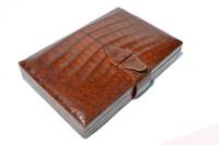 RARE 1940's-50's Warm Brown CROCODILE Skin Jewelry Box Travel Case