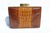 Brown 1950's-60's Hornback Crocodile Skin Wallet Change Purse