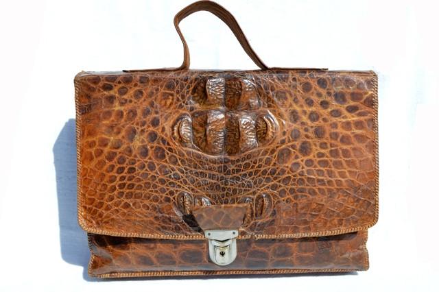 fe8c6781 ... Cognac Men's Hornback CROCODILE Skin Briefcase Bag Satchel. Image 1.  Loading zoom