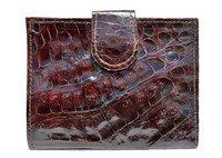 1990's Unisex Mahogany Brown Crocodile Skin Wallet