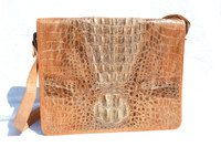 Small 1940's-50's HORNBACK CROCODILE Skin PORTFOLIO Case Shoulder Bag