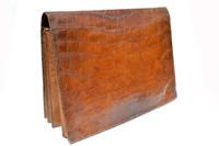 XL 15 x 11 1950's-60's Cognac ALLIGATOR Belly Skin PORTFOLIO Folder Business Case