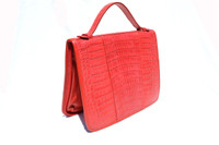 New! Ceyenne Red CROCODILE Skin Zippered IPAD Case Briefcase Portfolio - CARLOS FALCHI