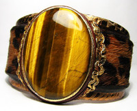 New! *TIGER EYE* & Genuine COWHIDE Hair-On Leather CUFF
