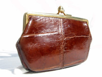 1940's-50's Chocolate Brown Alligator Skin Change Purse G1A-075
