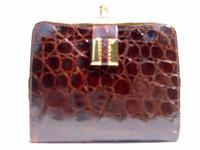 1950's Dark Chocolate Alligator Skin Wallet & Change Purse