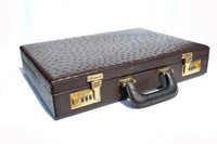 Chocolate Brown 1980's-90's Full Quill OSTRICH Skin BRIEFCASE Attache Case - FRANZEN - Combination Locks!