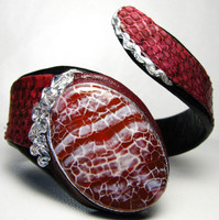 New! CRAB AGATE & RED COBRA Snake Skin CUFF Bracelet