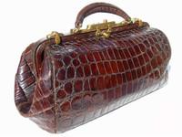 Antique Early 1900's Edwardian ALLIGATOR Belly Skin Doctor Bag
