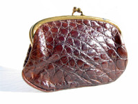 1940's-50's Chocolate Brown Alligator Skin Change Purse