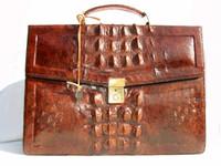 1960's Cognac HORNBACK Crocodile Skin BRIEFCASE Bag w/Key!