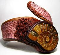 New! AMMONITE *Fossil*& PINK COBRA Snake Skin CUFF Bracelet