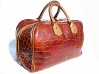 1940's-50's COGNAC & Tan Crocodile Skin Carry-On Luggage Bag