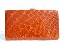 XL 1960's MARK CROSS Cognac Hard-Sided ALLIGATOR Skin CASE Pocket Wallet