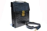 ALFRED ROTH Unisex 1980's-90's CROCODILE Skin ATTACHE Messenger IPAD Portfolio Briefcase Shoulder Bag