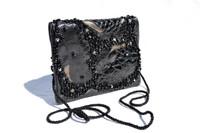1980's-90's GRACE ANN AGOSTINO Metallic BLACK Beaded ALLIGATOR & OSTRICH Skin Clutch Shoulder Cross Body Evening Bag