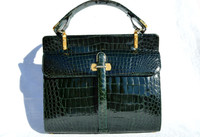 GREEN 1960's CROCODILE Porosus Belly Skin Handbag - SCHIAVI - Italy
