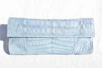 NEW 2000's LIGHT BLUE Crocodile Skin CLUTCH Bag - LAI!