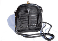 Lovely 1980's-90's BLACK Crocodile Belly Skin CROSS Body SHOULDER Bag - Budd Leather