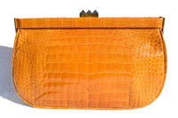 SUAREZ Burnt Orange 1990's Alligator Belly Skin CLUTCH Bag - ITALY