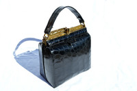 1950's-60's Jet Black Structured ALLIGATOR Skin Handbag - Unique Clasp