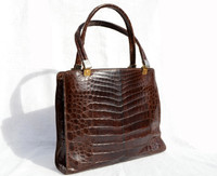 1950's-60's Chocolate Brown ALLIGATOR Belly Skin Satchel Bag - ARGENTINA
