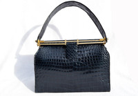 NAVY BLUE 1950's-60's CROCODILE Belly Skin Handbag