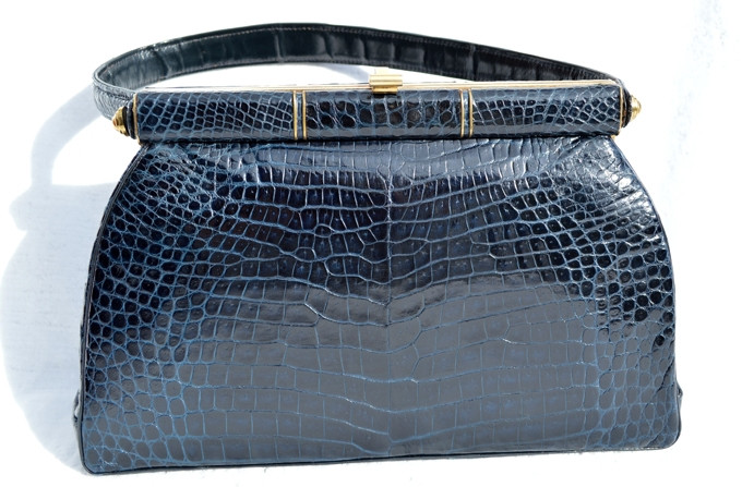 46072edba288 ... CROCODILE Belly Skin Handbag - Gout de Paris. Image 1. Loading zoom
