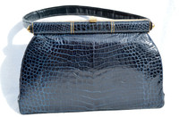 NAVY BLUE 1950's-60's CROCODILE Belly Skin Handbag - Gout de Paris